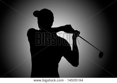 Golf player silhouette in studio