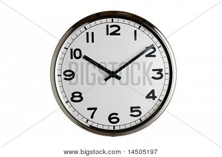 Classic clock on wall reads ten past ten isolated on white background