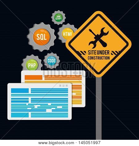 under construction gears tools road sign site web online digital icon set. Colorful and flat design. Vector illustration