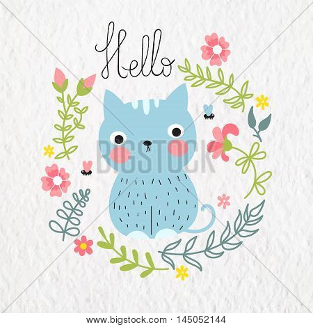 Vector illustration with cute blue cat with floral frame and inscription