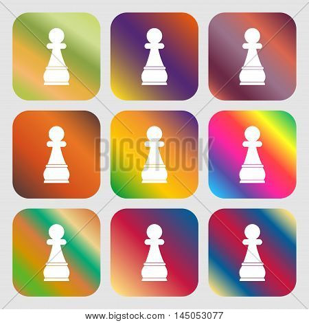Chess Pawn Sign Icon . Nine Buttons With Bright Gradients For Beautiful Design. Vector