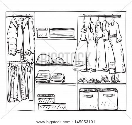 Hand drawn wardrobe sketch. Room interior with clothes for girl.