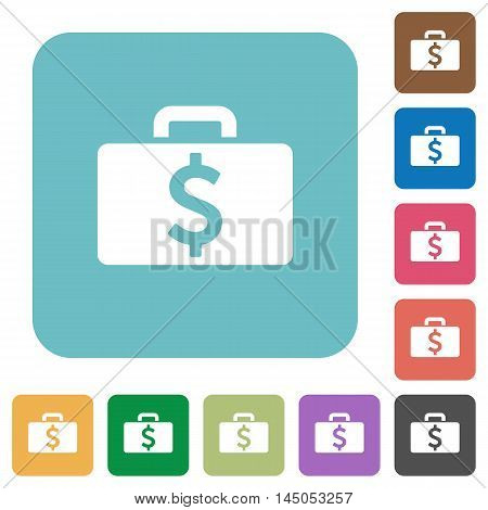 Flat Dollar bag icons on rounded square color backgrounds.