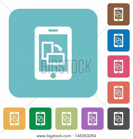 Flat change mobile orientation icons on rounded square color backgrounds.