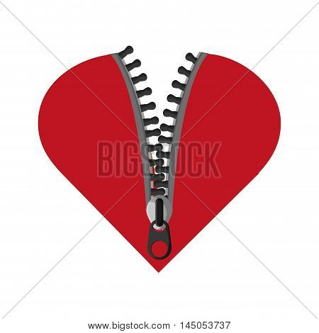 zip heart zipper metal cloth textile material icon. Flat and isolated design. Vector illustration