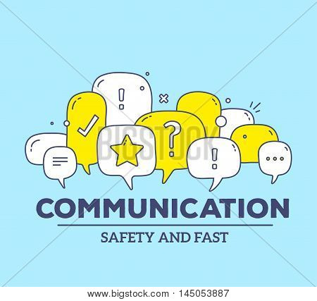 Vector Illustration Of Yellow And White Color Dialog Speech Bubbles With Icons And Text Communicatio