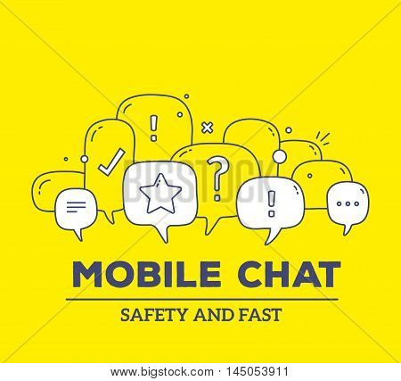 Vector Illustration Of White Color Dialog Speech Bubbles With Icons And Text Mobile Chat On Yellow B