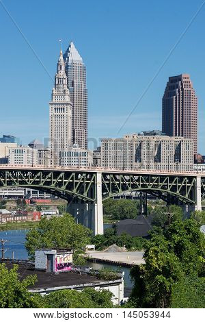 A view of the three tallest buildings in downtown Cleveland, Ohio with the Hope Memorial Bridge in the foreground