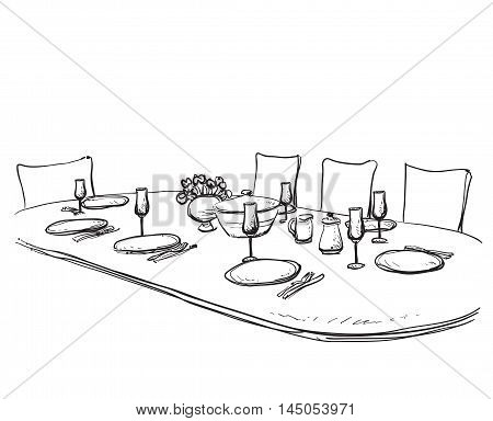 Hand Drawn wares. Dinner family. Flowers and dishes