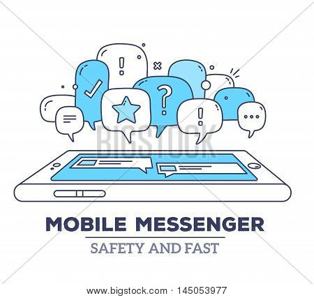 Vector Illustration Of Blue Color Dialog Speech Bubbles With Icons, Phone And Text Mobile Messenger