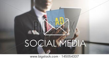 Advertisement Social Media Internet Letter Concept