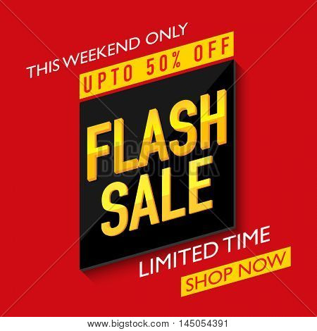 Flash Sale with Upto 50% Off for limited time, Creative Poster, Banner or Flyer design.