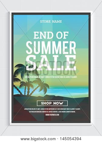 End of Summer Sale Poster, Banner or Flyer design with beautiful nature view, Creative vector illustration.