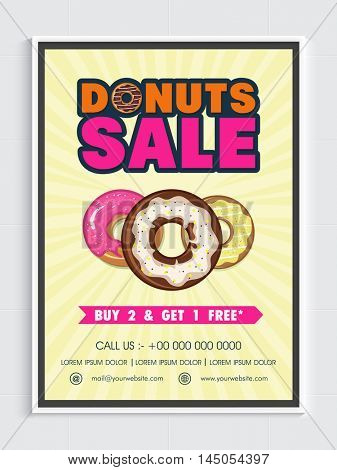 Donuts Sale with Special Offer, Creative Poster, Banner or Flyer with sweet donuts for Bakery Shop, Cafe and Restaurants etc.