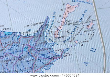 Nemuro Strait on old USSR map. Selective focus.