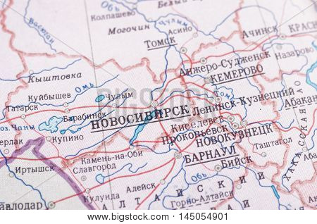 Novosibirsk on old USSR map. Selective focus.