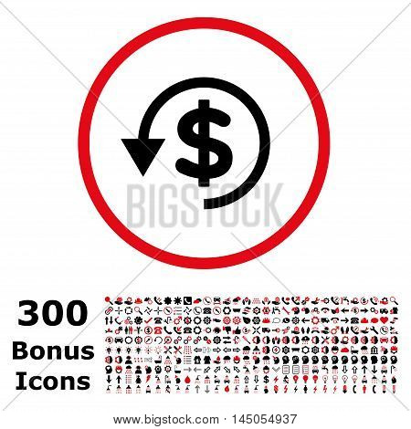 Chargeback rounded icon with 300 bonus icons. Vector illustration style is flat iconic bicolor symbols, intensive red and black colors, white background.