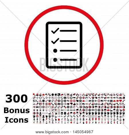 Checklist Page rounded icon with 300 bonus icons. Vector illustration style is flat iconic bicolor symbols, intensive red and black colors, white background.