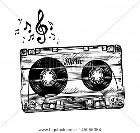 Hand drawn cassette music. Sketch audio cassette tape. Vector illustration