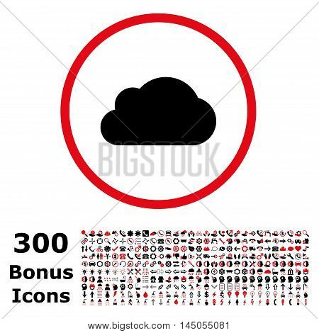 Cloud rounded icon with 300 bonus icons. Vector illustration style is flat iconic bicolor symbols, intensive red and black colors, white background.