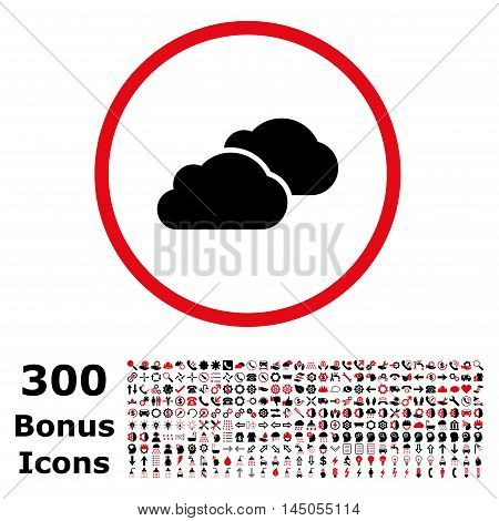 Clouds rounded icon with 300 bonus icons. Vector illustration style is flat iconic bicolor symbols, intensive red and black colors, white background.