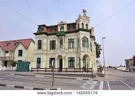 SWAKOPMUND NAMIBIA - JAN 31 2016: Typical architecture in Swakopmund. City was founded in 1892 by Captain Curt von Francois as the main harbour of German South West Africa.