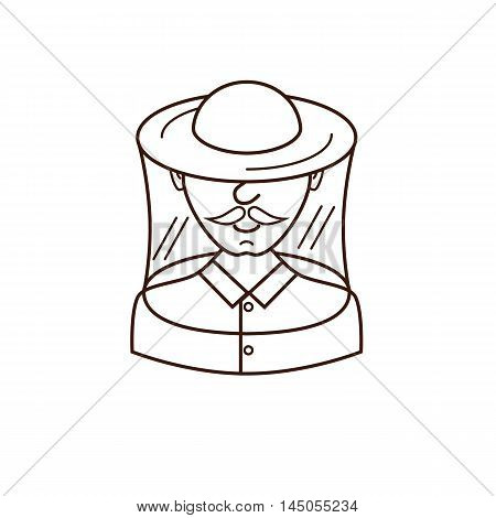 Vector illustration apiarist in outline style. Beekeeper and apiarist. Man apiarist colorful vector icon. Beekeeper and apiarist profession avatar.