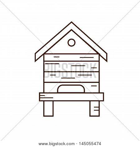 Honey bee beehive illustration. Beehive vector symbol. Bee, honey, bee house, honeycomb, beehive, flower. Outline style honey bee beehive. Vector icon beehive. Mead bee beehive illustration