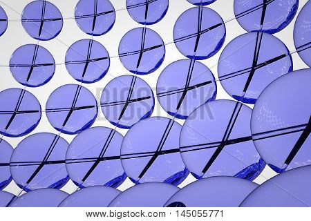 Blue glass balls connected by tubes on a white background 3D render graphics in high definition