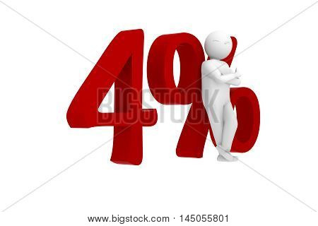 3d human leans against a red 4%