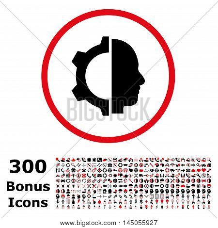 Cyborg Gear rounded icon with 300 bonus icons. Vector illustration style is flat iconic bicolor symbols, intensive red and black colors, white background.