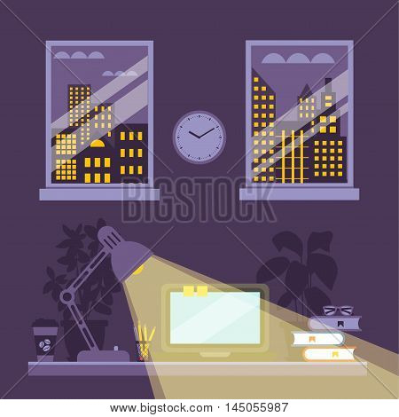 Night office desk concept with office elements. Night workspace illustration. Desk lamp light in night office concept in cartoon flat style. Vector illustration of night office workplace background