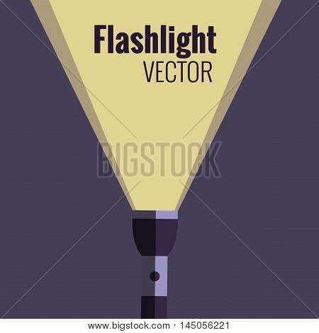 Flashlight  icon on night background isolated. Vector flat flashlight illustration. Concept of flat flashlight in dark. Colorful flashlight icon for your design. Pocket flashlight icon