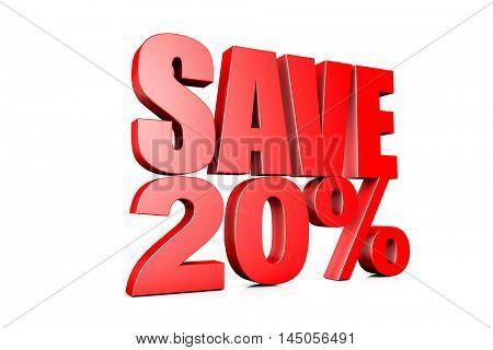 3d illustration save 20%