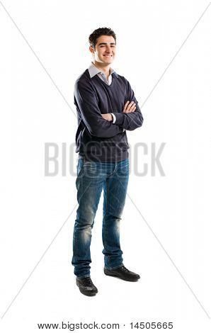 Full length portrait of smiling young man standing isolated on white background