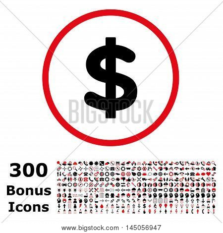 Dollar rounded icon with 300 bonus icons. Vector illustration style is flat iconic bicolor symbols, intensive red and black colors, white background.