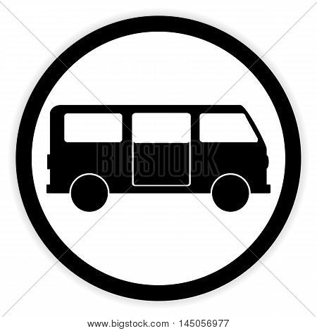 Minibus button on white background. Vector illustration.