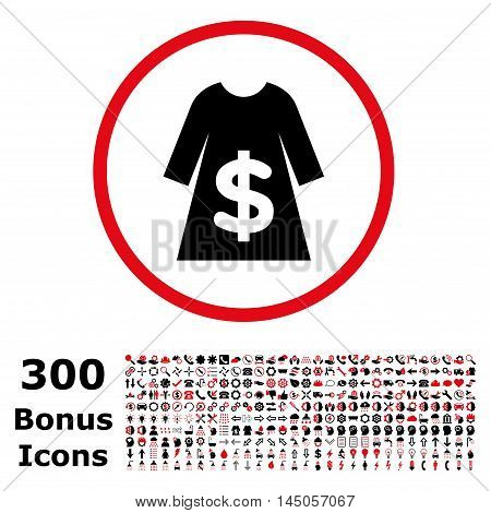 Dress Sale rounded icon with 300 bonus icons. Vector illustration style is flat iconic bicolor symbols, intensive red and black colors, white background.