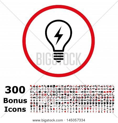 Electric Bulb rounded icon with 300 bonus icons. Vector illustration style is flat iconic bicolor symbols, intensive red and black colors, white background.