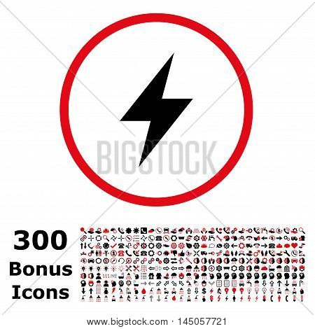 Electric Strike rounded icon with 300 bonus icons. Vector illustration style is flat iconic bicolor symbols, intensive red and black colors, white background.