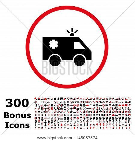 Emergency Car rounded icon with 300 bonus icons. Vector illustration style is flat iconic bicolor symbols, intensive red and black colors, white background.