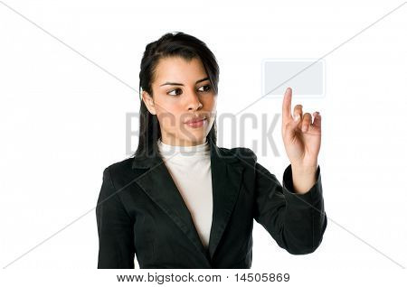 Young businesswoman pushing an empty button on a touch screen. You can write on it whatever you want!