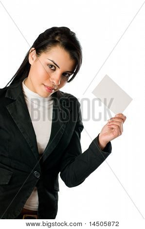 Beautiful smiling young woman holding a blank card to write it on whatever you want!