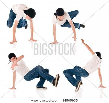 Breaker dancing hip hop. Four different positions of the same dance