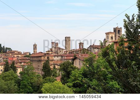 Panorama of upper city Citta Alta in Bergamo Italy