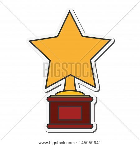 star trophy winner cinema movie film entertainment icon. Flat and isolated design. Vector illustration