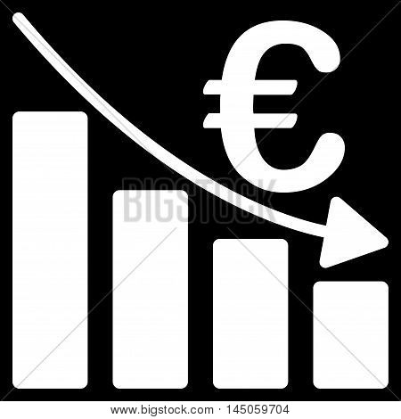 Euro Recession Bar Chart icon. Vector style is flat iconic symbol, white color, black background.
