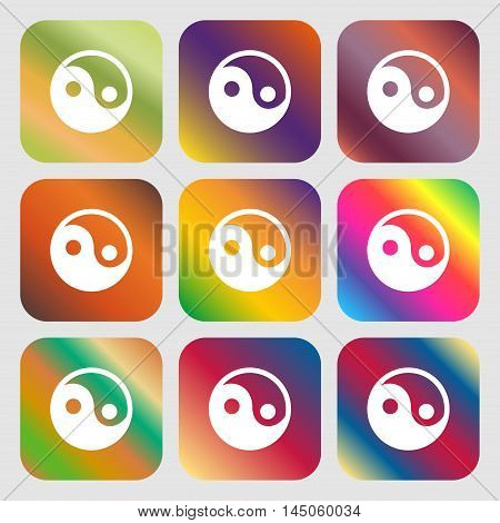 Ying Yang Icon. Nine Buttons With Bright Gradients For Beautiful Design. Vector