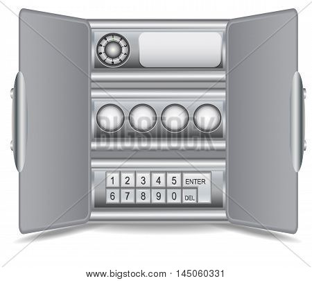 Steel safe with digital numerical security locks. Open metal safe with electronic security