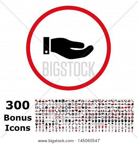 Hand rounded icon with 300 bonus icons. Vector illustration style is flat iconic bicolor symbols, intensive red and black colors, white background.